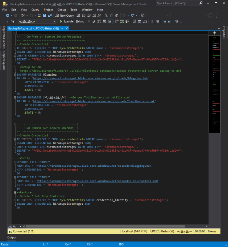 Backup to Azure Blob T-SQL Script