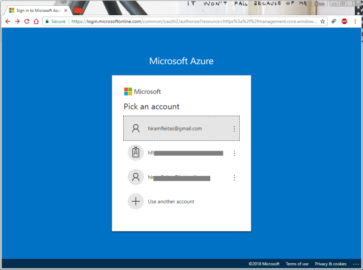 Log into Azure